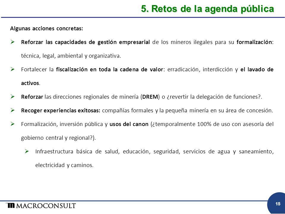 Algunas acciones concretas: Reforzar las capacidades de gestión empresarial de los mineros ilegales para su formalización: técnica, legal, ambiental y