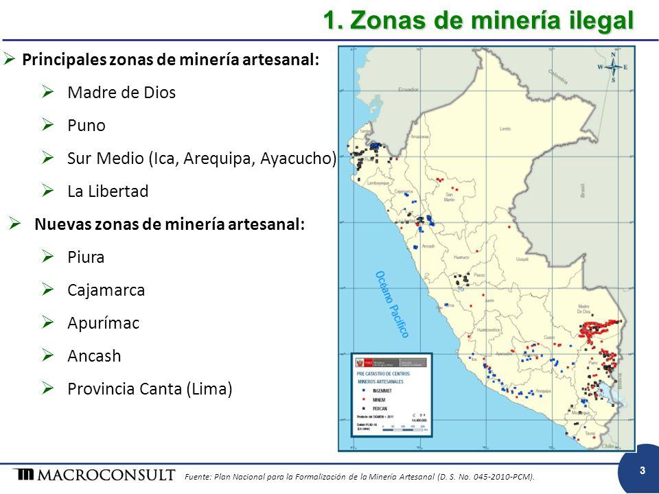 1. Zonas de minería ilegal Principales zonas de minería artesanal: Madre de Dios Puno Sur Medio (Ica, Arequipa, Ayacucho). La Libertad Nuevas zonas de
