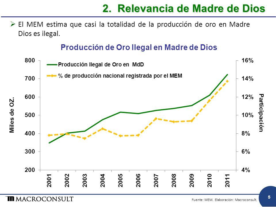 El MEM estima que casi la totalidad de la producción de oro en Madre Dios es ilegal. Producción de Oro Ilegal en Madre de Dios 2. Relevancia de Madre