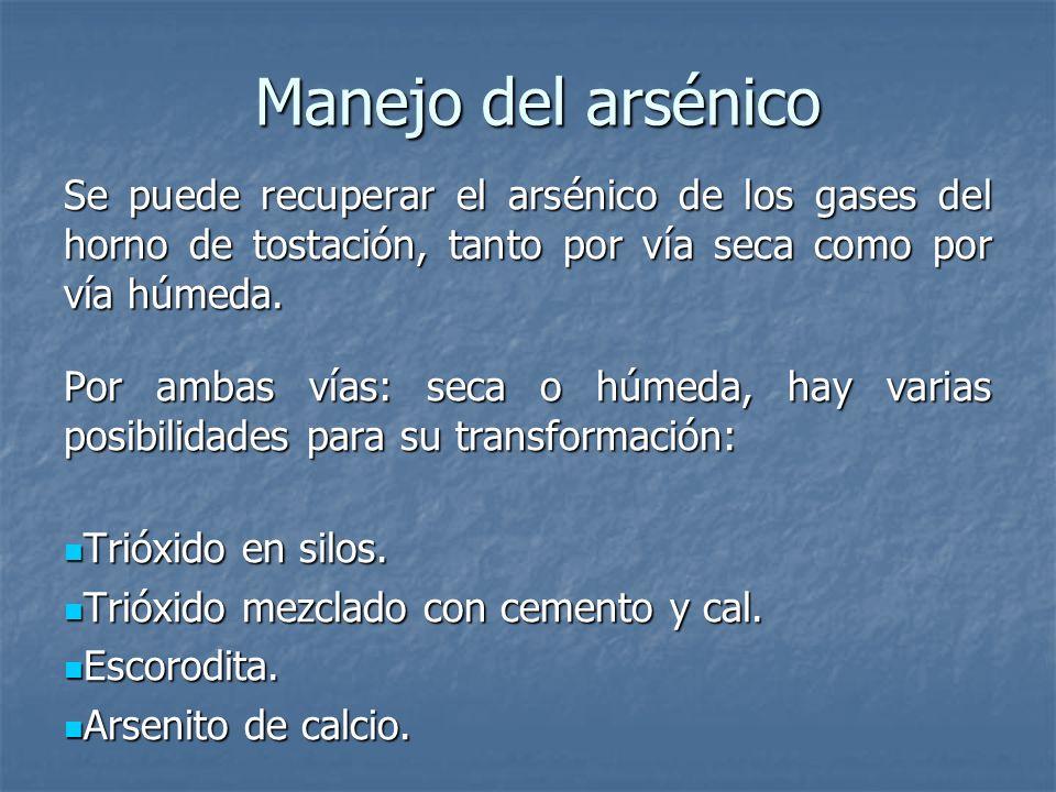 Manejo del arsénico Se puede recuperar el arsénico de los gases del horno de tostación, tanto por vía seca como por vía húmeda. Por ambas vías: seca o