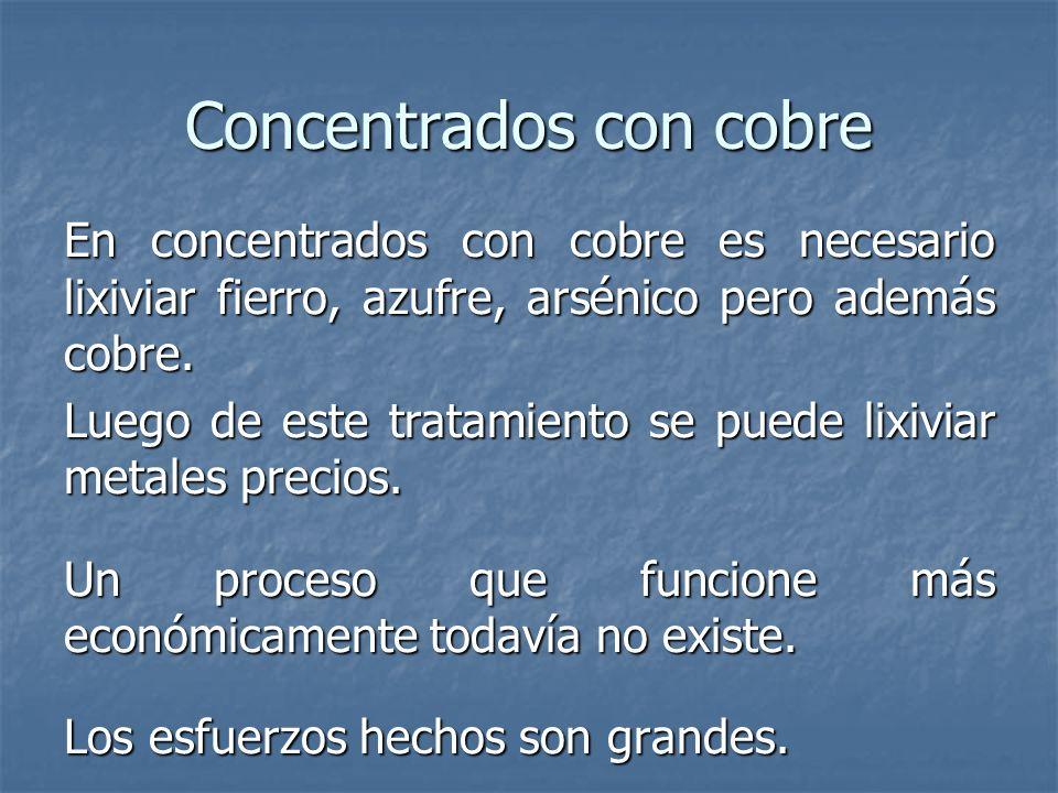 Concentrados con cobre En concentrados con cobre es necesario lixiviar fierro, azufre, arsénico pero además cobre.