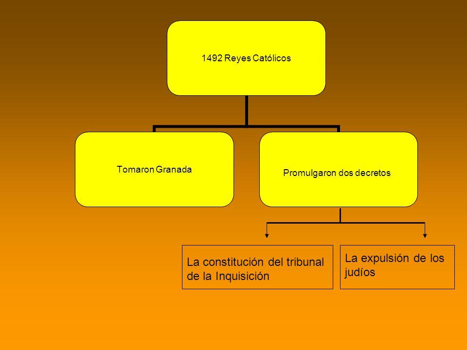 1492 Reyes Católicos Tomaron Granada Promulgaron dos decretos La constitución del tribunal de la Inquisición La expulsión de los judíos