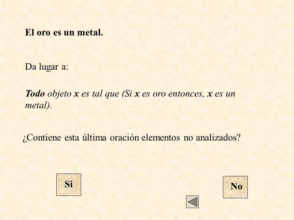 El oro es un metal. Todo objeto x es tal que (Si x es oro entonces, x es un metal). Da lugar a: ¿Contiene esta última oración elementos no analizados?