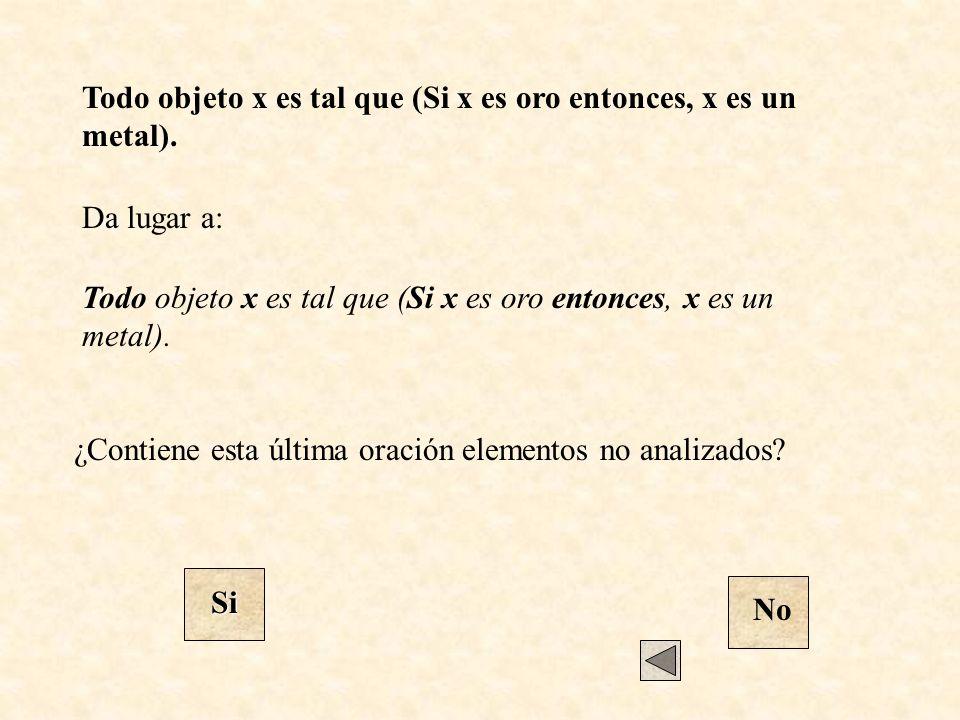 Da lugar a: ¿Contiene esta última oración elementos no analizados? Si No Todo objeto x es tal que (Si x es oro entonces, x es un metal).