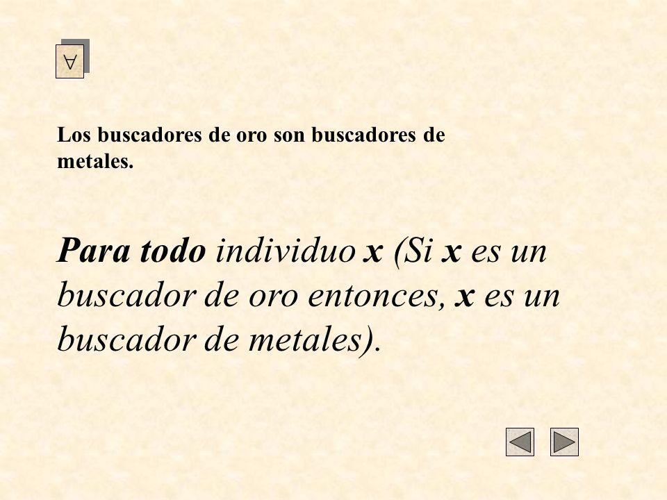 Para todo individuo x (Si x es un buscador de oro entonces, x es un buscador de metales). Los buscadores de oro son buscadores de metales.