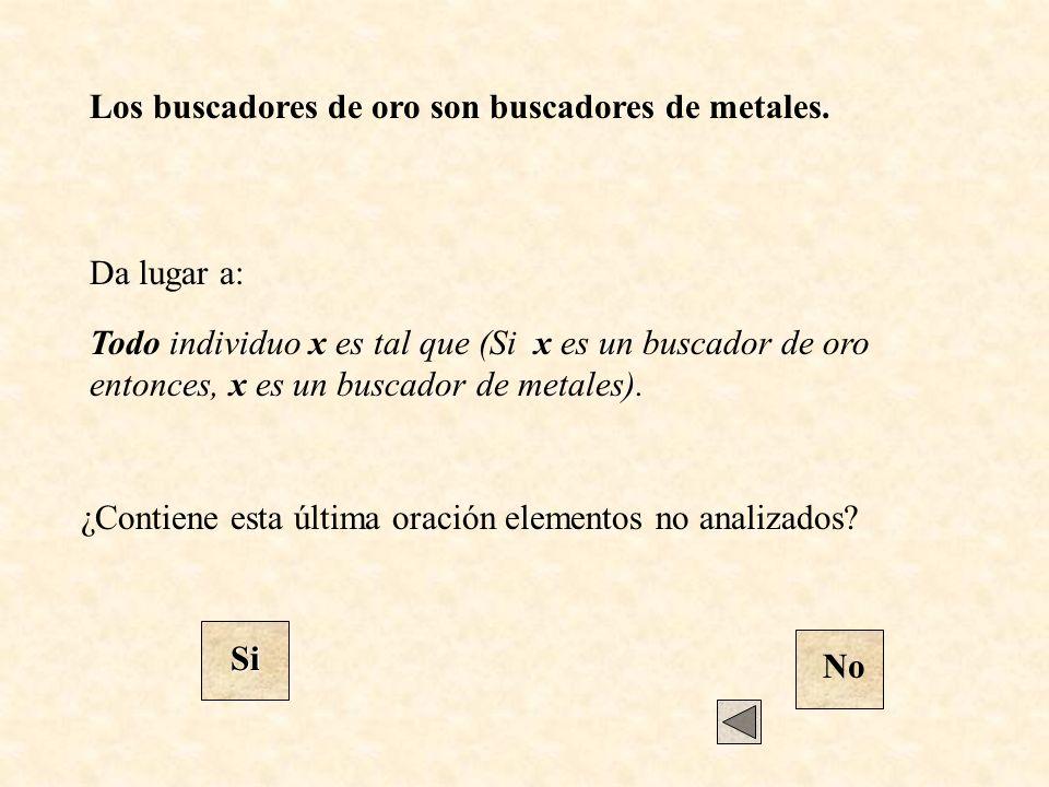 Da lugar a: Todo individuo x es tal que (Si x es un buscador de oro entonces, x es un buscador de metales). ¿Contiene esta última oración elementos no
