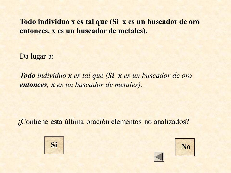 Todo individuo x es tal que (Si x es un buscador de oro entonces, x es un buscador de metales). Da lugar a: Todo individuo x es tal que (Si x es un bu