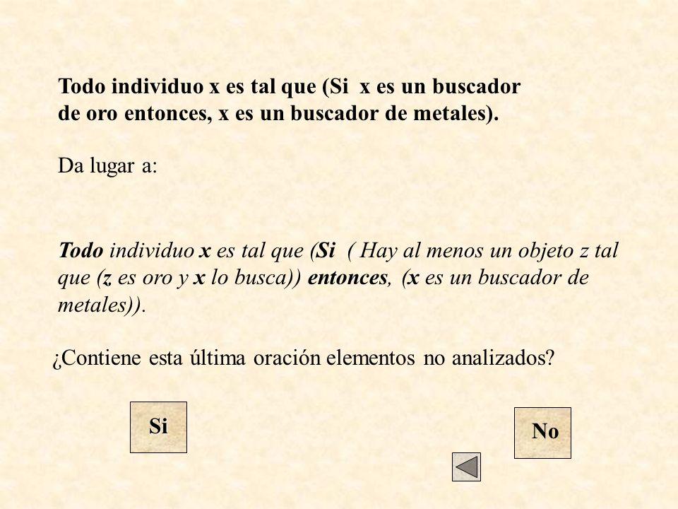 Da lugar a: ¿Contiene esta última oración elementos no analizados? Si No Todo individuo x es tal que (Si x es un buscador de oro entonces, x es un bus