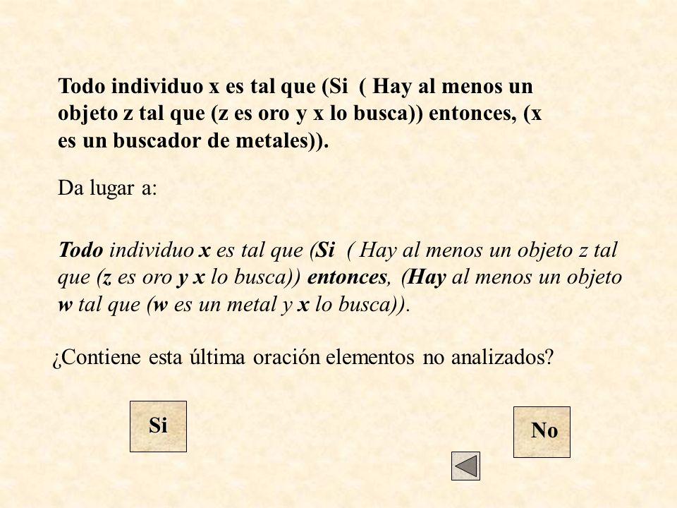 Da lugar a: ¿Contiene esta última oración elementos no analizados? Si No Todo individuo x es tal que (Si ( Hay al menos un objeto z tal que (z es oro