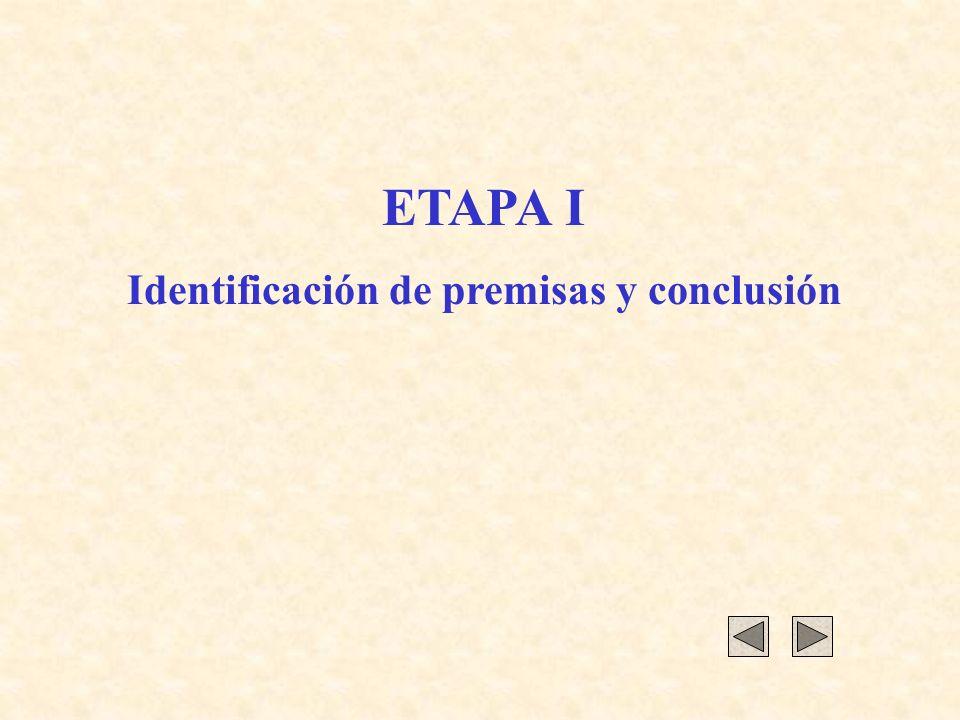ETAPA I Identificación de premisas y conclusión