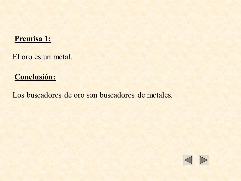 Premisa 1: El oro es un metal. Conclusión: Los buscadores de oro son buscadores de metales.