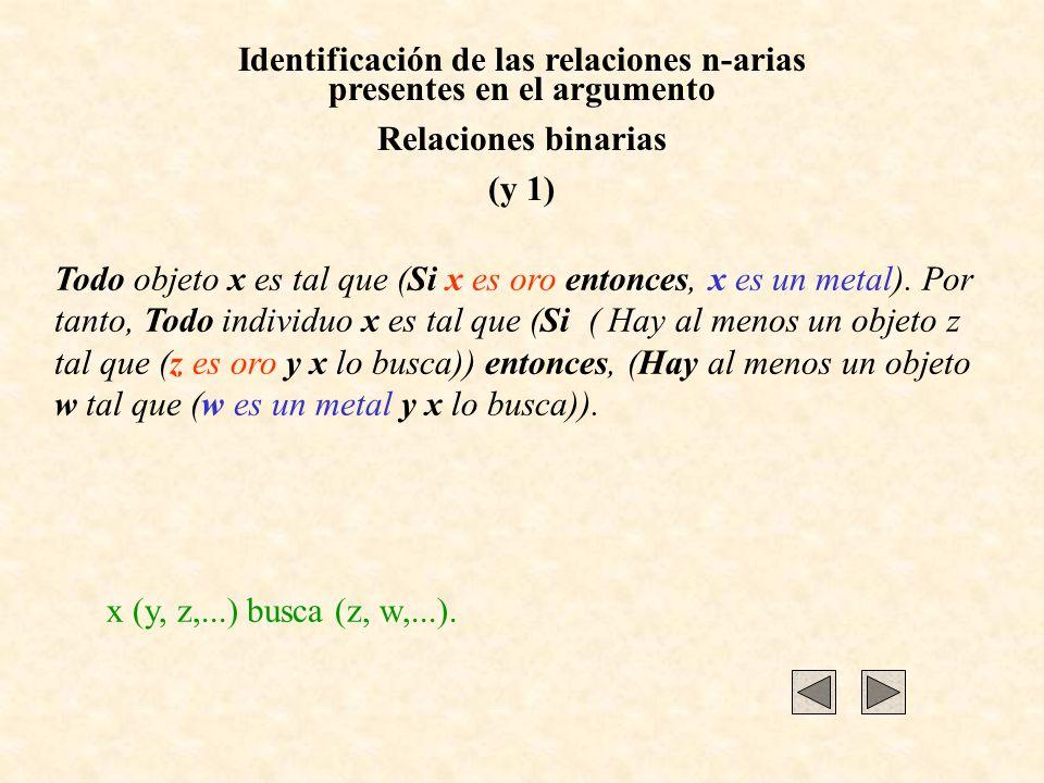 Identificación de las relaciones n-arias presentes en el argumento Relaciones binarias (y 1) Todo objeto x es tal que (Si x es oro entonces, x es un m