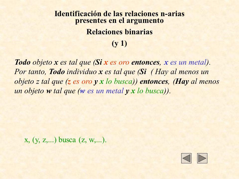 Identificación de las relaciones n-arias presentes en el argumento Relaciones binarias (y 1) Todo objeto x es tal que (Si x es oro entonces, x es un metal).