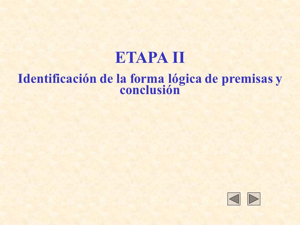 ETAPA II Identificación de la forma lógica de premisas y conclusión