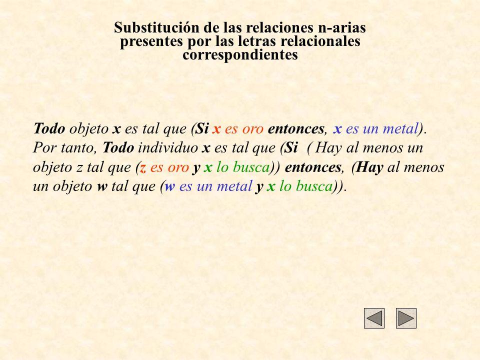 Substitución de las relaciones n-arias presentes por las letras relacionales correspondientes Todo objeto x es tal que (Si x es oro entonces, x es un metal).