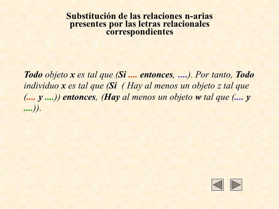 Substitución de las relaciones n-arias presentes por las letras relacionales correspondientes Todo objeto x es tal que (Si.... entonces,....). Por tan