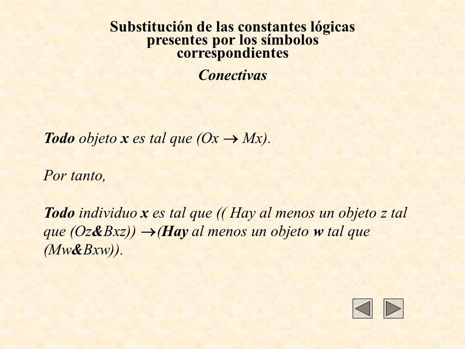 Substitución de las constantes lógicas presentes por los símbolos correspondientes Conectivas Todo objeto x es tal que (Ox Mx). Por tanto, Todo indivi