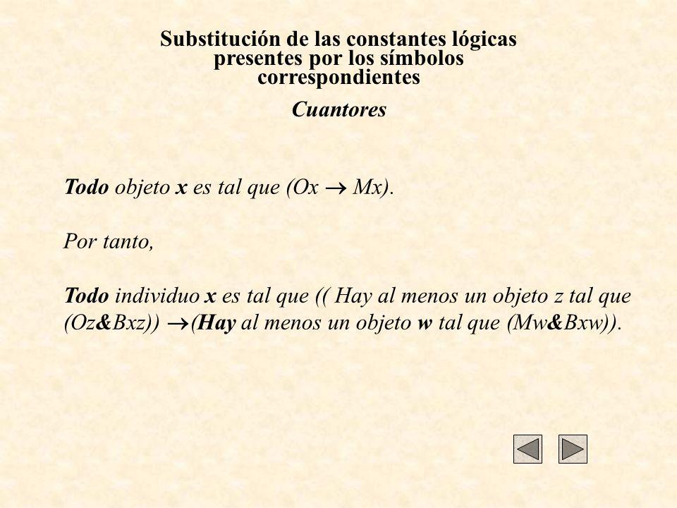 Substitución de las constantes lógicas presentes por los símbolos correspondientes Cuantores Todo objeto x es tal que (Ox Mx). Por tanto, Todo individ