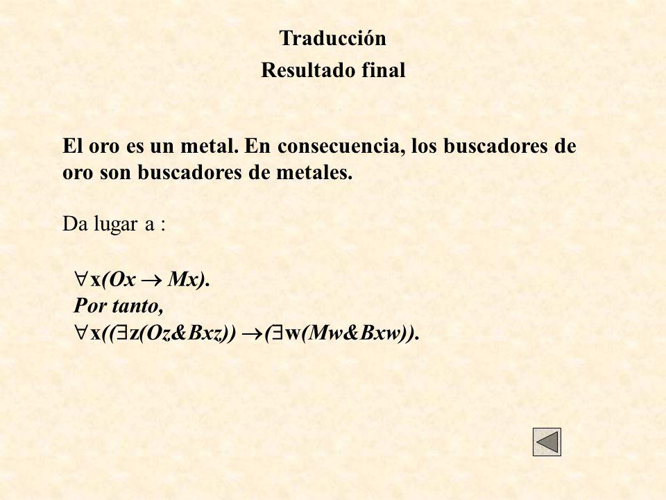 Traducción Resultado final El oro es un metal. En consecuencia, los buscadores de oro son buscadores de metales. Da lugar a : x(Ox Mx). Por tanto, x((