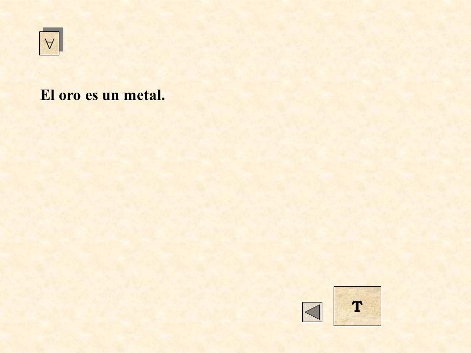 El oro es un metal. Para todo x sucede que (Si x es oro, entonces x es un metal).