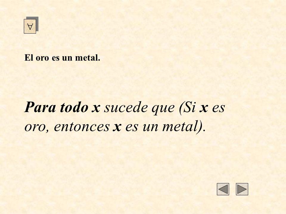 Si x es un buscador de oro entonces, x es un buscador de metales.