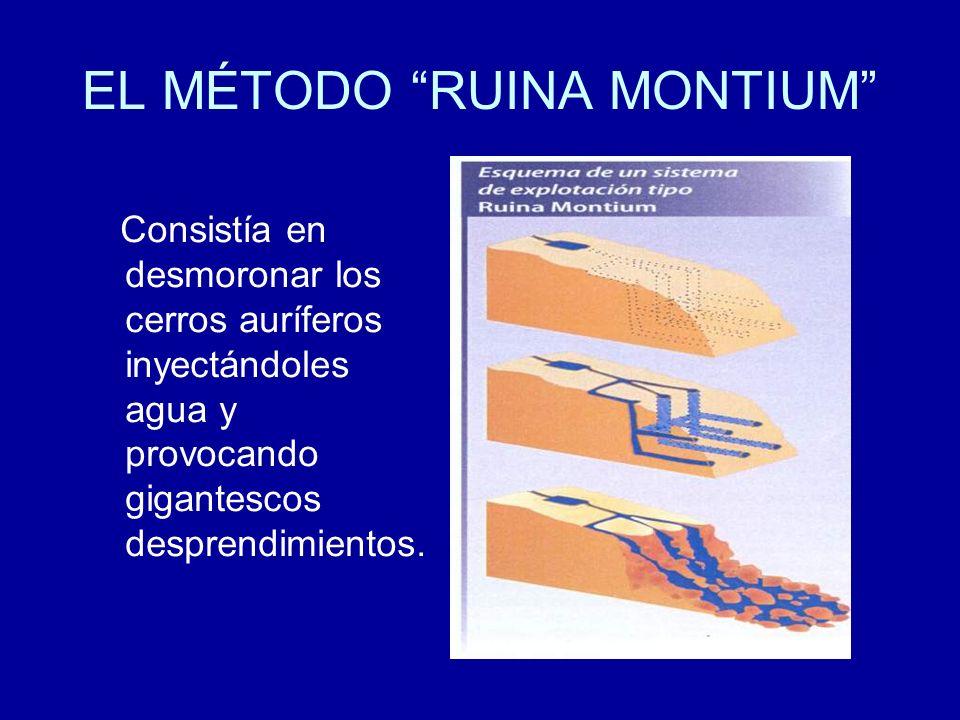 EL MÉTODO RUINA MONTIUM Consistía en desmoronar los cerros auríferos inyectándoles agua y provocando gigantescos desprendimientos.