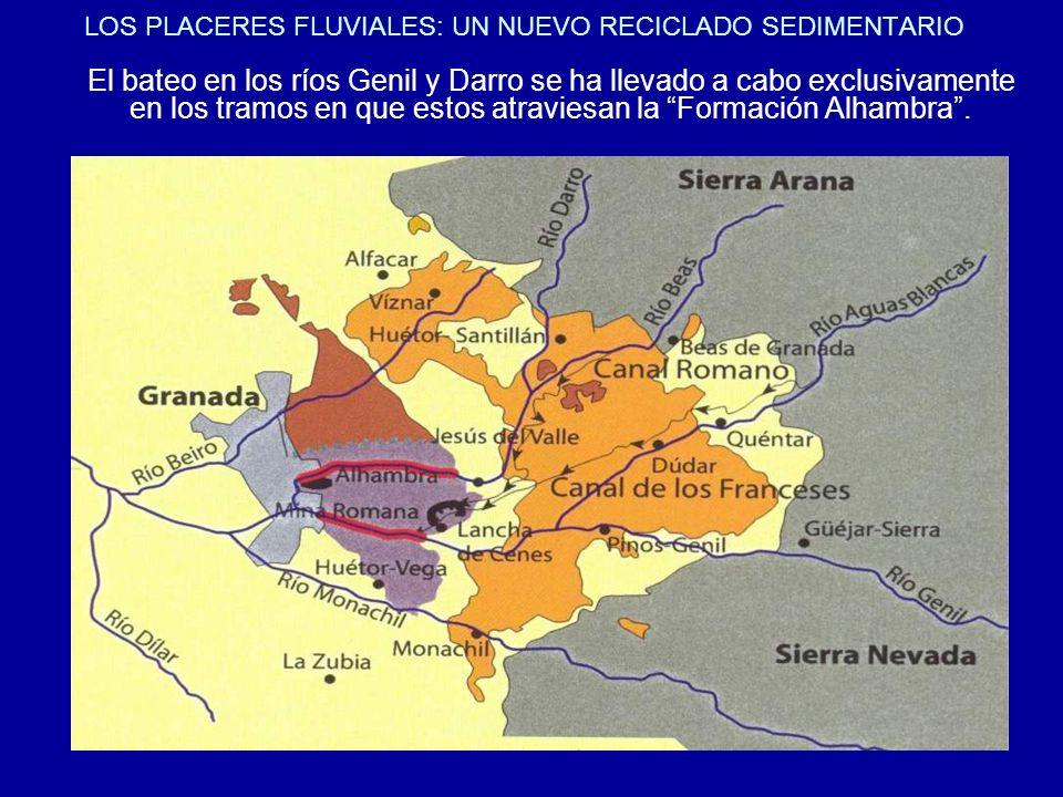 LOS PLACERES FLUVIALES: UN NUEVO RECICLADO SEDIMENTARIO El bateo en los ríos Genil y Darro se ha llevado a cabo exclusivamente en los tramos en que es