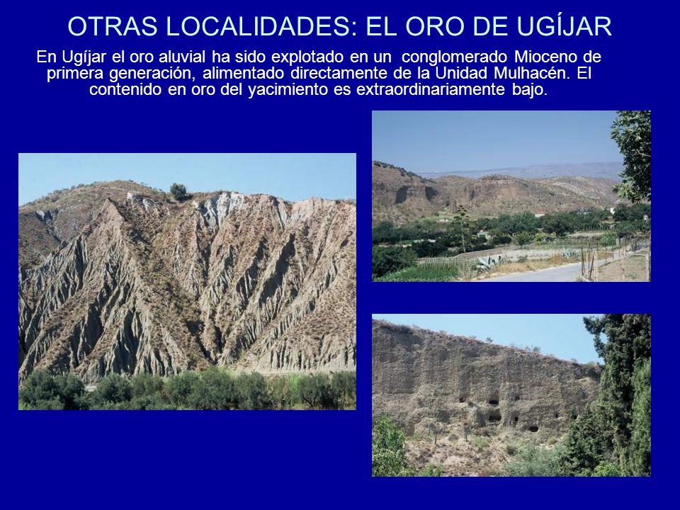 OTRAS LOCALIDADES: EL ORO DE UGÍJAR En Ugíjar el oro aluvial ha sido explotado en un conglomerado Mioceno de primera generación, alimentado directamen