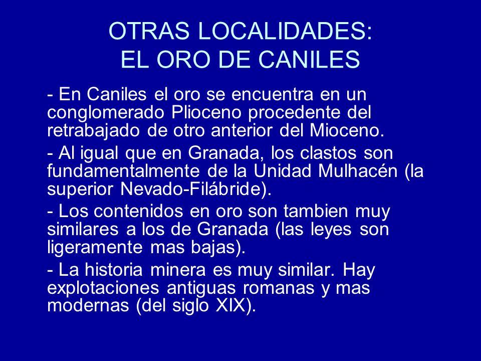 OTRAS LOCALIDADES: EL ORO DE CANILES - En Caniles el oro se encuentra en un conglomerado Plioceno procedente del retrabajado de otro anterior del Mioc