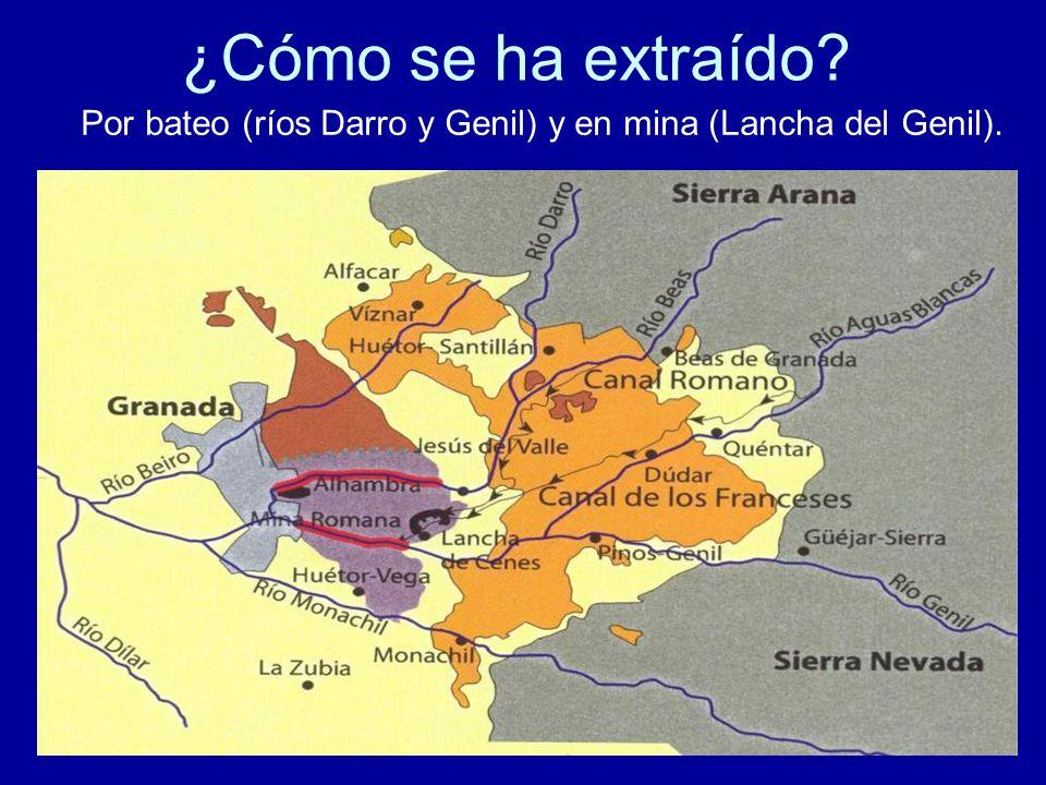 ¿Cómo se ha extraído? Por bateo (ríos Darro y Genil) y en mina (Lancha del Genil).