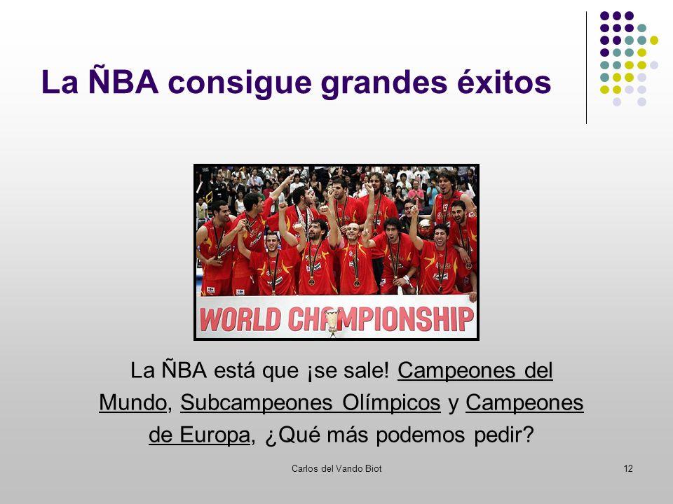Carlos del Vando Biot12 La ÑBA consigue grandes éxitos Campeones del La ÑBA está que ¡se sale! Campeones del MundoSubcampeones OlímpicosCampeones Mund
