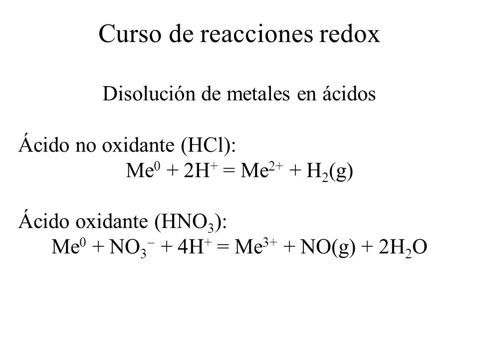 Potenciales normales de reducción CuplaE 0 / V Fe 2+ /Fe 0 0.41 Co 2+ /Co 0 0.28 Ni 2+ /Ni 0 0.23 Pb 2+ /Pb 0 0.13 H + /H 2 0.00 Cu 2+ /Cu 0 +0.30 Ag + /Ag 0 +0.80 NO 3 /NO+1.10 Pt 2+ /Pt 0 +1.20 Au + /Au 0 +1.70