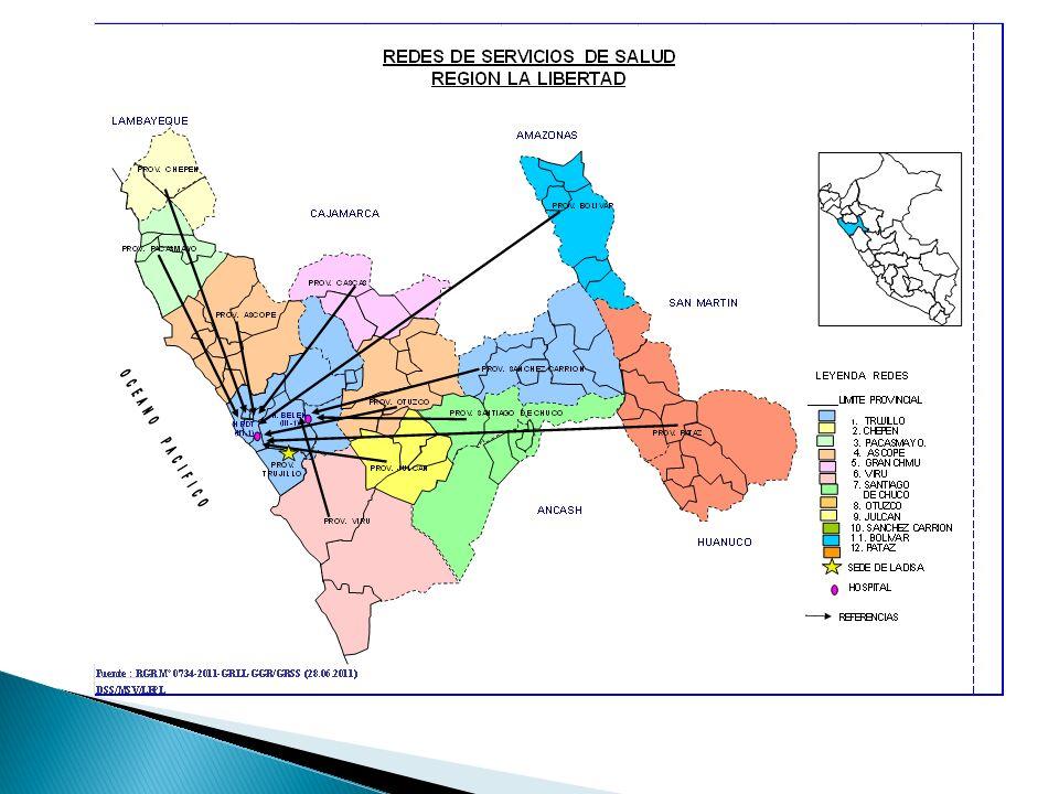 REDES DE SALUD REGION LA LIBERTAD HOSPITAL BELEN DE TRUJILLOPOBLACION ASIGNADA 2012REDES / MICRORREDES AMBITOS 139,616 SANCHEZ CARRION 61,329 SANTIAGO DE CHUCO 80,835 VIRU 726,297 7 MR DE LA RED TRUJILLO:V.