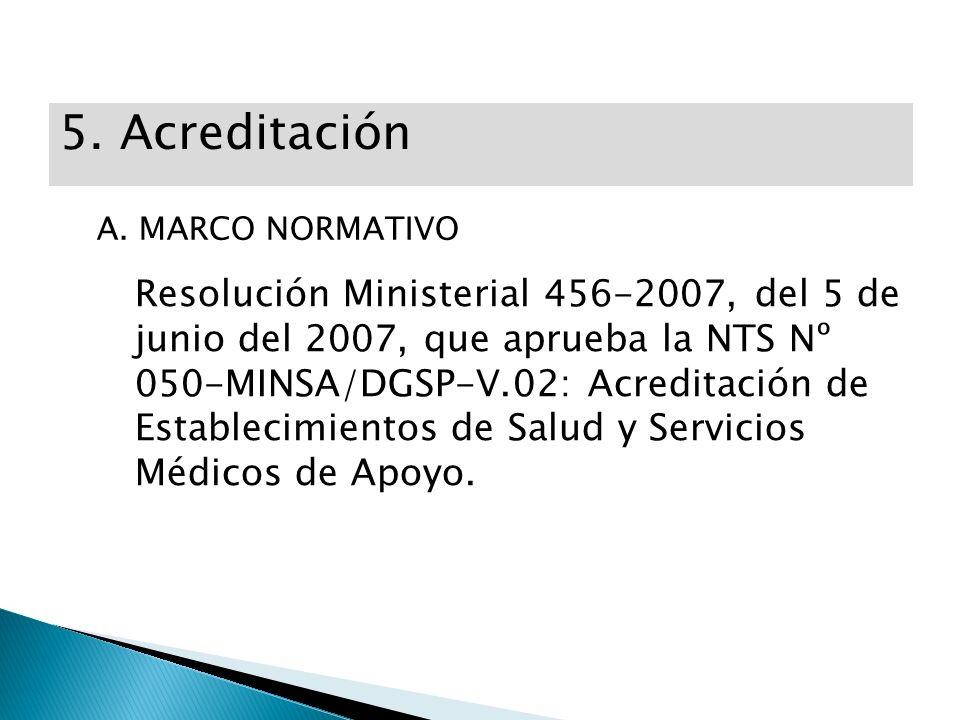5. Acreditación A. MARCO NORMATIVO Resolución Ministerial 456-2007, del 5 de junio del 2007, que aprueba la NTS Nº 050-MINSA/DGSP-V.02: Acreditación d