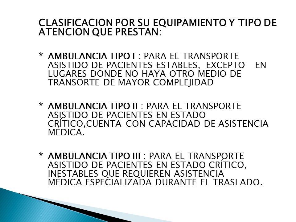 De los Recursos Humanos en las Ambulancias Tipo de Ambulancia Recursos Humanos Tipo IMedico o Enfermera o Tec.