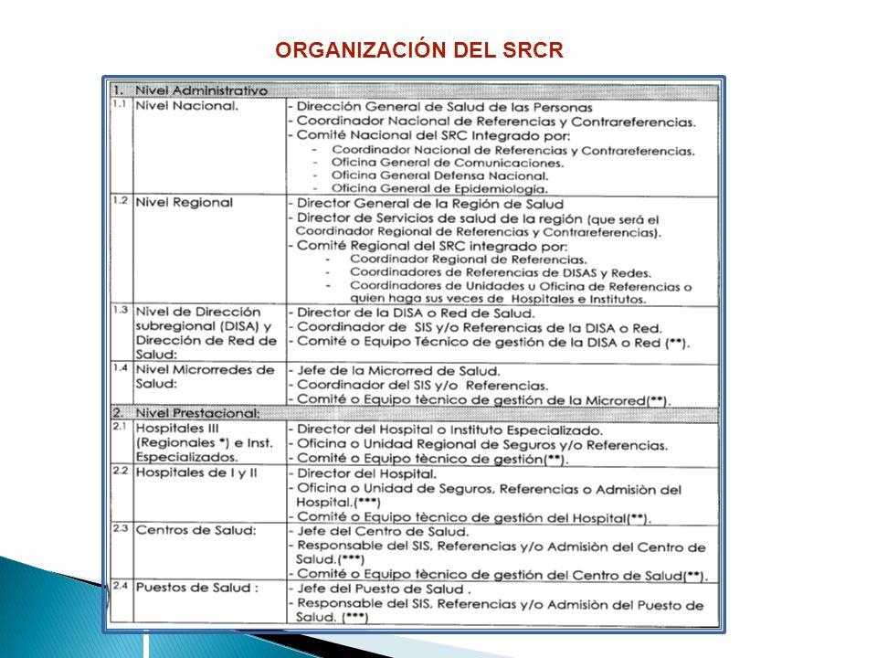 ORGANIZACIÓN DEL SRCR