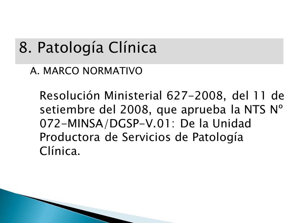 La UPSS de Patología Clínica de un establecimiento de salud deberá contar con las siguientes áreas: ÁREAS CATEGORÍA DEL ESTABLECIMIENTO III -2III -1II- 2II- 1I -4I- 3 I-2, I- 1 Bioquímica SEXXXXX Hematología SEXXXXX Inmunología SEXX Microbiología SEXXXXX Banco de sangre SEXXX Biología molecular SEX Banco de órganos y tejidos y laboratorio de histocompatibilidad SE Toma de muestras XXXXXXX *SE: Según Especialidad