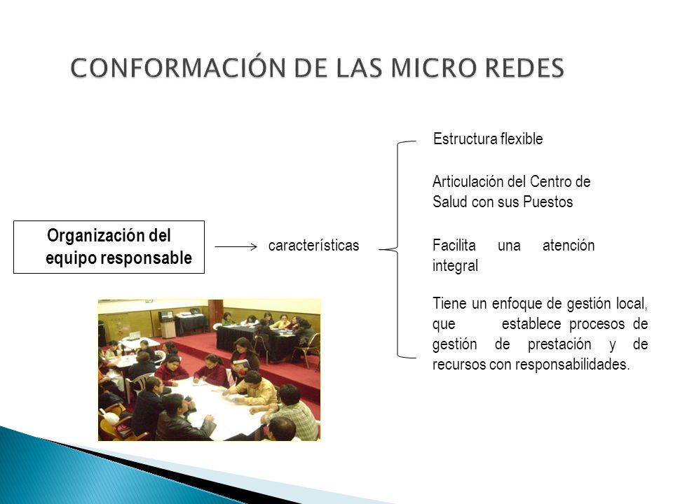Organización del equipo responsable características Estructura flexible Articulación del Centro de Salud con sus Puestos Facilita una atención integra