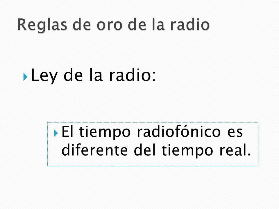 Ley de la radio: El tiempo radiofónico es diferente del tiempo real.