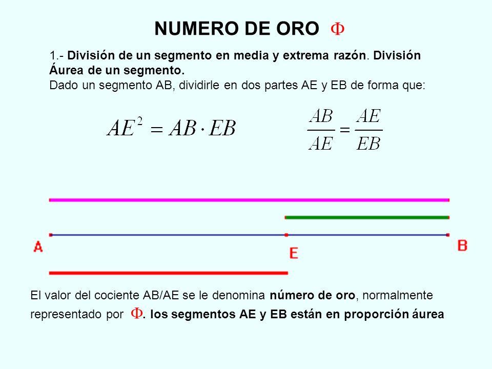 Calculo del punto E que divide a segmento AB en media y extrema razón Ahora veremos el procedimiento para encontrar el punto E que divide a un segmento en media y extrema razón Se toma el punto medio M del segmento AB