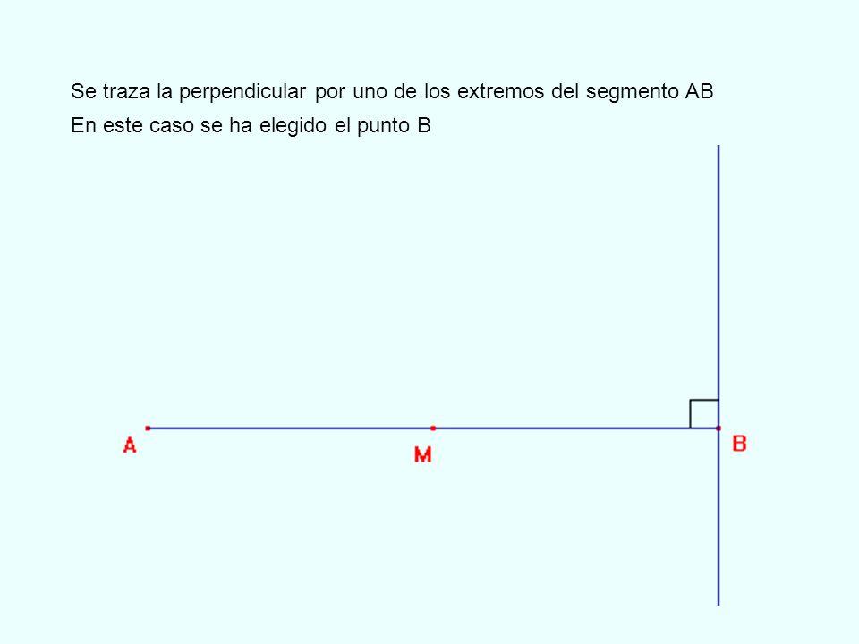Se toma como centro el punto B y se traza la circunferencia con radio BM y que corta a la perpendicular trazada por B en el punto C