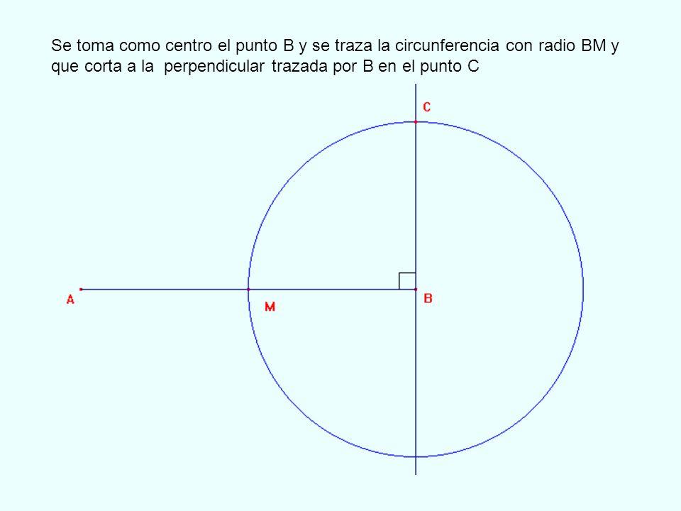 Ahora tomando como centro el punto C trazamos La circunferencia de centro C y radio CB que corta al segmento AC en el punto D