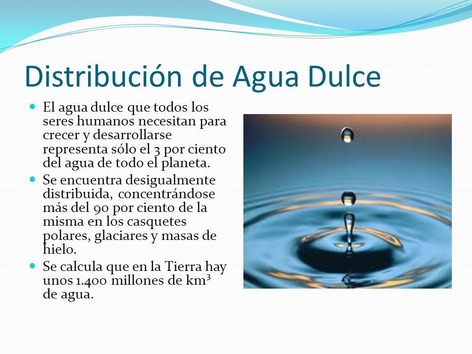 Distribución de Agua Dulce El agua dulce que todos los seres humanos necesitan para crecer y desarrollarse representa sólo el 3 por ciento del agua de