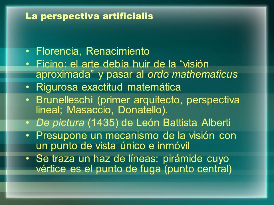 La perspectiva artificialis Florencia, Renacimiento Ficino: el arte debía huir de la visión aproximada y pasar al ordo mathematicus Rigurosa exactitud