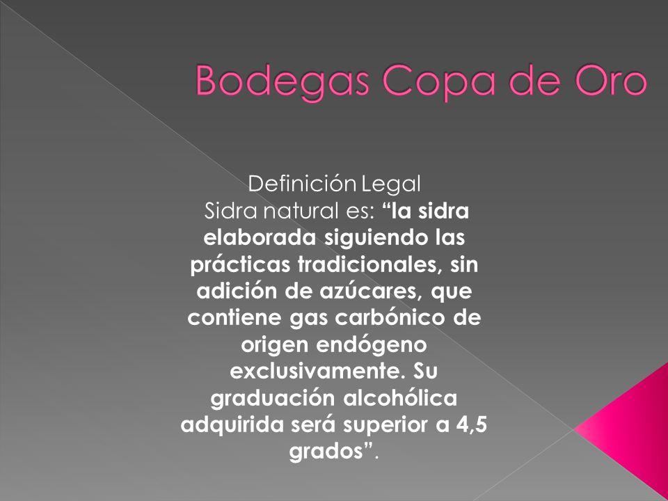 Definición Legal Sidra natural es: la sidra elaborada siguiendo las prácticas tradicionales, sin adición de azúcares, que contiene gas carbónico de or