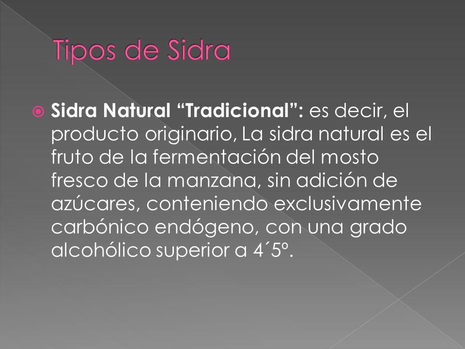 Sidra Natural Tradicional: es decir, el producto originario, La sidra natural es el fruto de la fermentación del mosto fresco de la manzana, sin adici