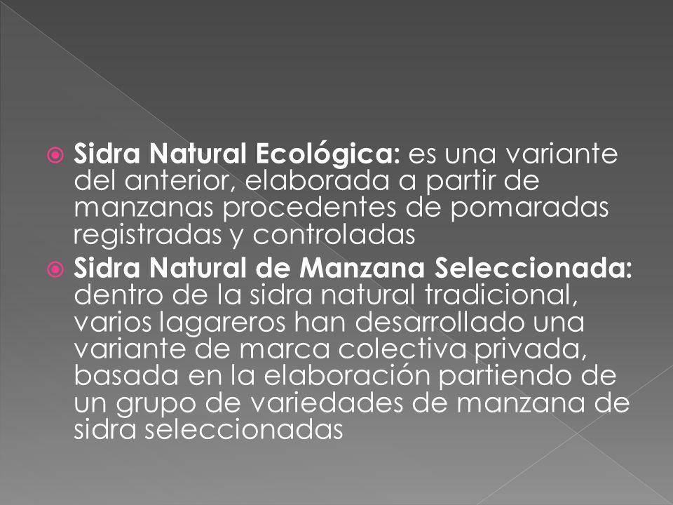 Sidra Natural Ecológica: es una variante del anterior, elaborada a partir de manzanas procedentes de pomaradas registradas y controladas Sidra Natural