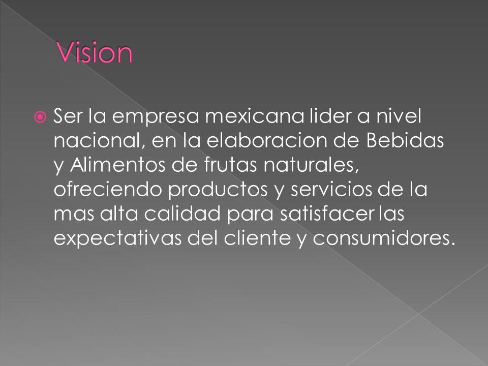 Ser la empresa mexicana lider a nivel nacional, en la elaboracion de Bebidas y Alimentos de frutas naturales, ofreciendo productos y servicios de la m