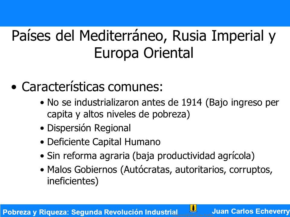 Países del Mediterráneo, Rusia Imperial y Europa Oriental Características comunes: No se industrializaron antes de 1914 (Bajo ingreso per capita y alt