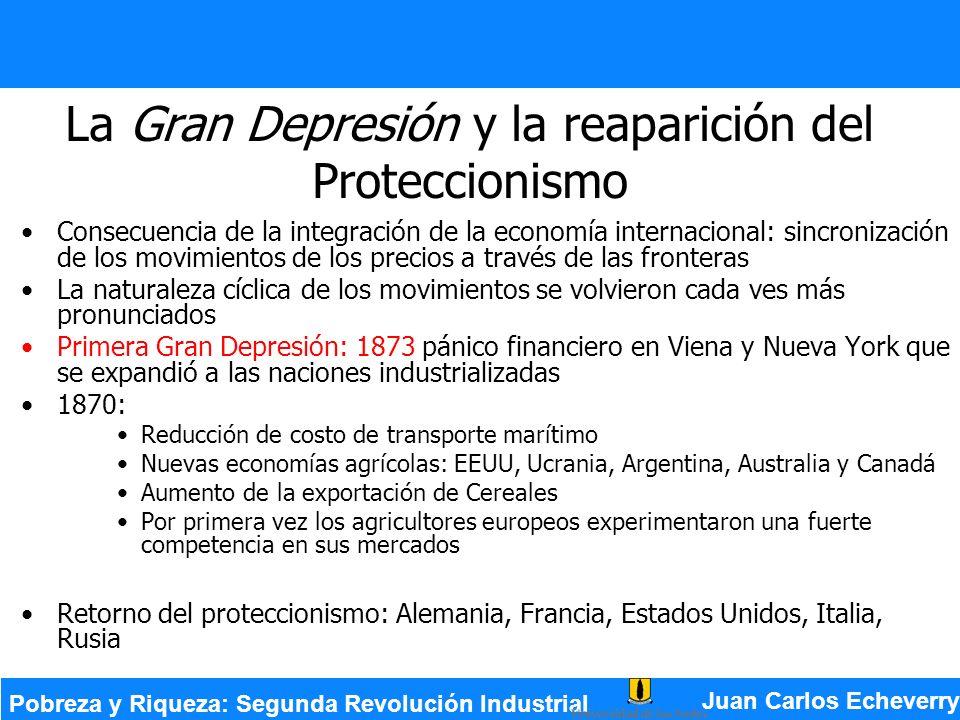 La Gran Depresión y la reaparición del Proteccionismo Consecuencia de la integración de la economía internacional: sincronización de los movimientos d